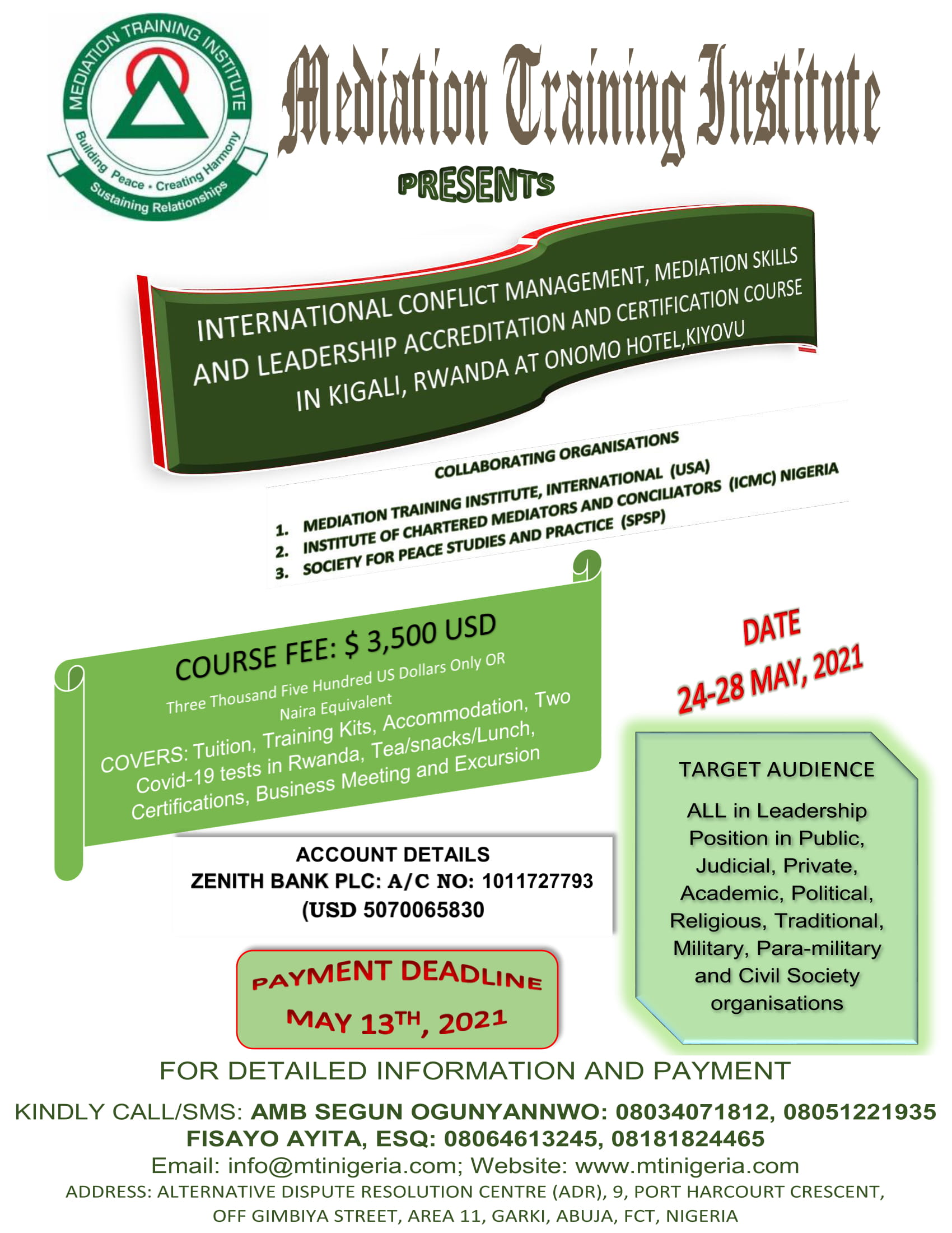 INTERNATIONAL CONFLICT MANAGEMENT, MEDIATION SKILLS AND LEADERSHIP ACCREDITATION & CERTIFICATION COURSE IN KIGALI, RWANDA